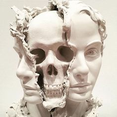 Death Visceration, a surreal sculpture by Taiji Taomote, features the face of a woman whose head has been split open to reveal her skull. Statues, Instalation Art, Kunst Online, Arte Obscura, Poses References, The Secret History, White Aesthetic, Greek Mythology, Fine Art