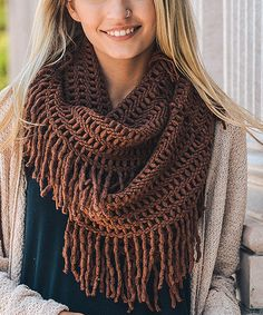 Another great find on #zulily! Chocolate Lattice Fringe Infinity Scarf #zulilyfinds