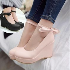 Womens Wedge Heel Shoes Buckle Strap Korean Girls Bow-Knot Pumps Round Toe  Z138