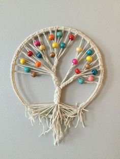 Macramé dream catcher with crystal Doily Dream Catchers, Dream Catcher Craft, Dream Catcher Mobile, String Crafts, Bead Crafts, Diy And Crafts, Arts And Crafts, Shell Crafts, Macrame Design