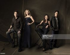 Tomb of the Dragon Emperor actors Brendan Fraser, Maria Bello, Michelle Yeoh, and Jet Li pose for at portrait session in Los Angleles for Universal Studios.