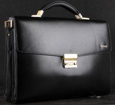 Upscale Black Leather Business Gentlemen Briefcase | www.pilaeo.com #men's #luxury #expert