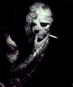 Rick Genest / Male Models, Tattooed guy, Black & White Photography Smoking