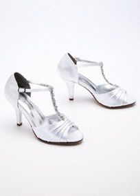 """Add some shine and style to your outfit for your next special event with these lovely shoes!   Satin shoe comes with a stylish crystalt-strapthat adds support and comfort while making you shine.  Heel Size: 3""""  Imported. Fully Lined.  Dyeable shoes are sold in White as shown. Bring your dyeable shoes to your local David's Bridal Store to have them dyed in any of our exclusive colors.  About Dyeable Shoes."""