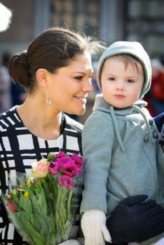 Crown Princess Victoria and Princess Estelle celebrate Crown Princess Victoria's name day during a ceremony at the square of the Royal Palace in Stockholm, Sweden, 12 March 2014.
