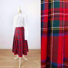 Plaid Pleated Skirt, Plaid Skirts, Midi Skirt, Clothing Items, Vintage Clothing, Vintage Outfits, Vintage Fashion, Vintage Wool, Etsy Vintage