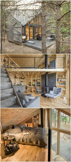 This cozy cabin was built to be a book lover's paradise can find Paradise and more on our website.This cozy cabin was built to be a book lover's paradise Tyni House, Tiny House Cabin, Tiny House Living, Tiny House Plans, Tiny House Design, Cabin Homes, Small Rustic House, Tiny Homes, Small Log Cabin Plans