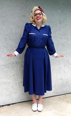 80s Dress, Dress Skirt, Shirt Dress, Vintage Sailor, Navy Blue Shirts, Sailor Dress, Vintage Skirt, Military Fashion, Vintage Outfits