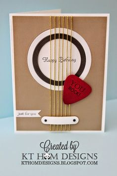 My son's birthday was last month, and since he plays guitar, I thought this was the perfect card for him:     Original Pin HERE     Here's m...