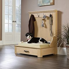 Lula Entryway Dog Bed - Lula Entryway Dog Bed Lend a cozy retreat with this essential organizing bed, showcasing a lower drawer for stowing mouth-watering treats or cleaning supplies. Diy Dog Bed, Wood Dog Bed, Pallet Dog Beds, Diy Bed, Diy Pallet, Dog Furniture, Furniture Stores, Luxury Furniture, Furniture Removal