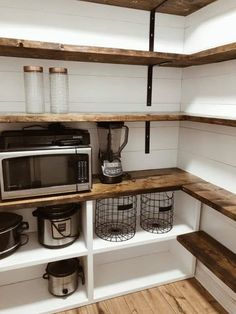 Small Cupboard, Cupboard Ideas, Pantry Room, Pantry Diy, Walk In Pantry, Small Pantry Closet, White Pantry, Open Pantry, Wall Pantry