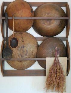 primitive wooden bowl rack