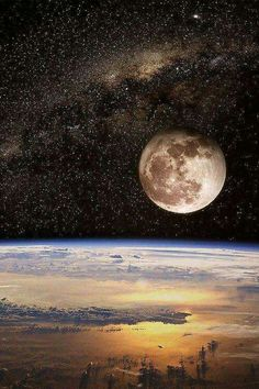 Earth horizon. Moon rising in front of the milky way. Beautiful picture of outer…