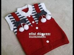 SEVİMLİ PONPONLU ASKILI BEBEK YELEĞİ YAPILIŞI/CUTE POMPOM HANGING BABY JACKET CONSTRUCTION - YouTube Crochet Jacket Pattern, Baby Cardigan Knitting Pattern Free, Newborn Crochet Patterns, Knitting Charts, Knitting Patterns Free, Knit Patterns, Crochet Baby Clothes, Baby Sweaters, Crochet For Kids
