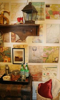 For a pirate bedroom for future minions! MWallpaper an accent wall with old maps Old Maps, Antique Maps, Vintage Maps, World Globe Map, Room Feng Shui, Pirate Bedroom, Photo Arrangement, Pictorial Maps, Rustic Office