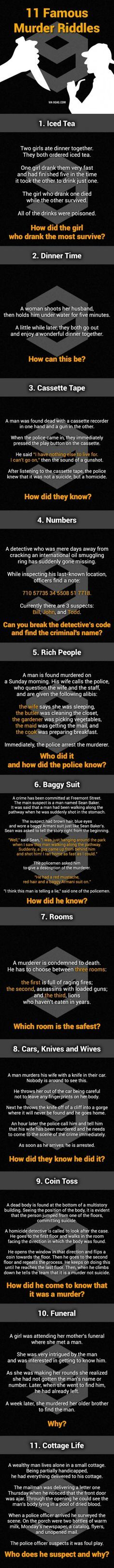 11 Murder Mystery Riddles. Can You Solve Them All?