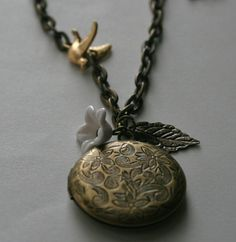 Etched Locket Necklace in Bronzeshabby shic by brightstarjewelry, $23.00