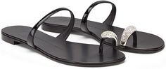 Giuseppe Zanotti Metallic Toe-Ring Flat Sandal in Black