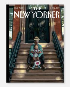 """Sitting on the stoop is such a New York thing,"" @kadirnelson, the artist behind this week's cover, ""Generations,"" says. He lives in Los Angeles but has fond memories of the Clinton Hill neighborhood of Brooklyn, from his days as a student at Pratt Institute. ""Brownstones, stoops, leaves turning: that's fall in New York, and I was also thinking about all the sweet moments I've had with my daughters."" #TNYcovers"