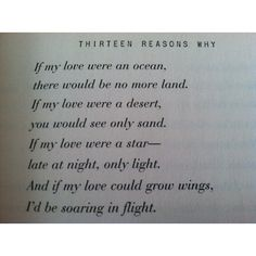 Love poem from the book Thirteen Reasons Why