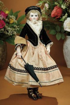 French Bisque Poupee by Barrois with Bisque Arms, Rare Neck Swivel, Superb Costume 3500/4500