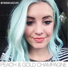 Peach + Gold Champagne || The Red Closet Lips || Instagram: @ theredclosetlips || long lasting makeup, lipsense, lipstick, long wear lipstick, senegence, blue hair, green hair, lipstick