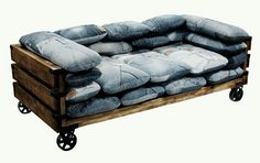 ⭐genius ideas! Pallets AND old jeans to make cushions.... Perfection!!