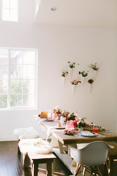 Modern Valentine's Day party: http://www.stylemepretty.com/living/2015/02/03/diy-floral-wall-sconces/ | Photography: to Wander and Seek - http://www.towanderandseek.com/