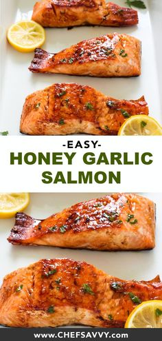 Pan fried and served with a sweet and sticky honey lemon glaze. This healthy meal is quick easy and absolutely delicious. Perfect to add to your weekly rotation of weeknight dinners! Healthy Dinner Recipes, Breakfast Recipes, Vegan Recipes, 21 Day Fix, Garlic Salmon, Honey Lemon Salmon, Healthiest Seafood, Fish Recipes, Quick Salmon Recipes