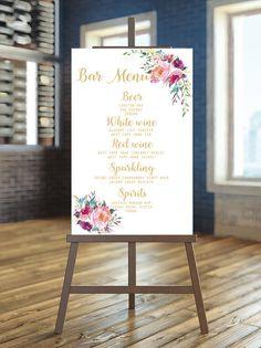 Printable Wedding Sign Bar menu Sign Floral bar by instanttrends