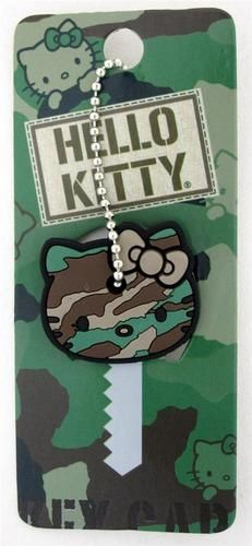 Loungefly Hello Kitty Camo Rubber Key Cap Cover Camoflauge Khaki and like OMG! get some yourself some pawtastic adorable cat shirts, cat socks, and other cat apparel by tapping the pin! Loungefly Hello Kitty, Sanrio Hello Kitty, I Love Cats, Cool Cats, Wonderful Day, Baby Friends, Key Caps, Kawaii, Cat Shirts