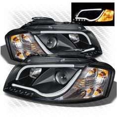 Audi A3 03-08 8P1 3 Door (not 5 Door Sportback) Black DRL Light Strip Projector Headlights. Comes Complete With Headlight Bulbs. Requires Wiring Into Side-Light Wiring In Order To Function. These are brand new, boxed and have full EU Compliant 'E' markings. UK Right Hand Drive Only. Will Pass an MOT. Will Not Fit Any Vehicles With Xenon Headlights As Standard
