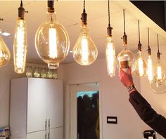#OddThingsToSuperSize Light bulbs. Seriously, the average length of these oversized antique bulbs is one foot! Buy one for fun (or maybe as night light) from 1000Bulbs.com! Antique Light Bulbs, Edison Bulbs, Vintage Lighting, Night Light, Project Ideas, Woodworking Projects, Pendant, Antiques, Fun
