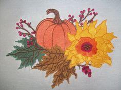fall splendor embroidery design autumn leaves pumpkin sunflower