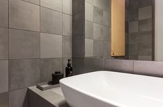 Bathroom made by us! Tiles is from 41zero42 - mate. Servant is Artis from villeroy & boch.  Tiler and architect works together. Find more about us at www.flottebad.no