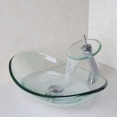 Bathroom Sink Set Round Tempered Glass Vessel Sink With Waterfall Faucet  Ds914 #ouboni