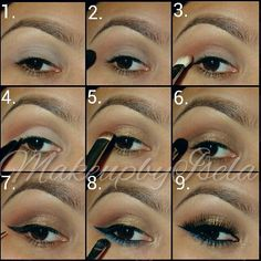 golden blue makeup - tutorial... it would be good if I was light on the gold, not much if any eyeliner, and no blue ;)