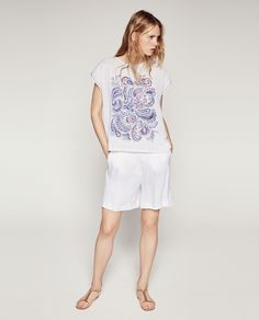Zara-PAISLEY PRINT T-SHIRT