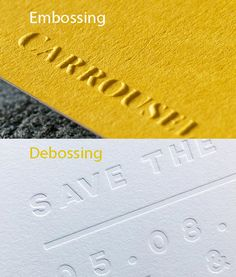 Embossing Debossing difference. Printing techniques. Embossing stands out, debossing is pressed in. Printed by Dot Studio London #printdesign #emboss #deboss