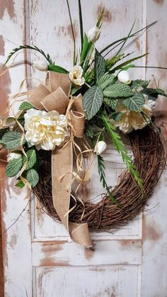 Front door wreath, peonies, tulips, summer wreath, spring wreath, Greenery Wreath, Wreath All Year Round, Door Wreath by FarmHouseFloraLs on Etsy
