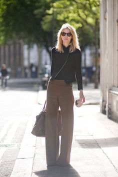 brown and black, wide leg pants, cut of jacket