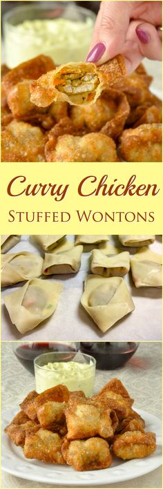 Curry Chicken Stuffed Wontons with Curry Cucumber Raita Dip - your party guests will be asking for more of these crispy stuffed wontons with mildly spiced curry chicken inside.