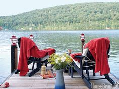 New England Decor Style - Nothing beats a fleece blanket on a dock with a cup a joe! New England Decor, New England Style Homes, Coastal Cottage, Coastal Living, Cottage Living, Living Room, Beautiful Homes, Beautiful Places, House Beautiful