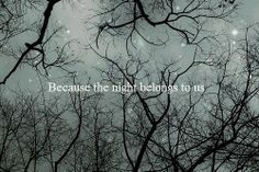 Because the night beckons to us.