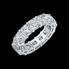 Asscher Cut diamond eternity band in platinum.