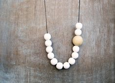 Wooden Necklace White Natural by julmade