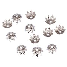 Hot Sale 11*11mm 100pcs/lot High Quality Gold/Silver Plated Flower Metal Charms Bead Caps for Jewelry Making Free Shipping