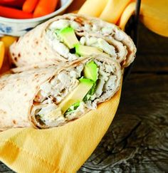 Crab and Avocado Wrap (could also sub tuna). Personally, I'd also load it up with lettuce and tomatoes, maybe put celery or onion in the seafood salad- veggies add bulk to fill you up and add only a nominal amount of calories.
