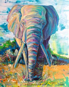 """""""Elephant Journey"""" Original Painting by Jen Callahan. This painting was done on a 30""""x 40"""" gallery wrapped stretched canvas with 1 1/2"""" sides. The sides of the canvas are painting. My canvas painted o"""