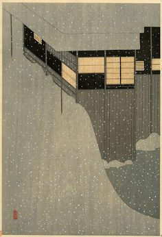 "Komura Settai, ""Morning"" Nihonbashi snow scene, 1941"